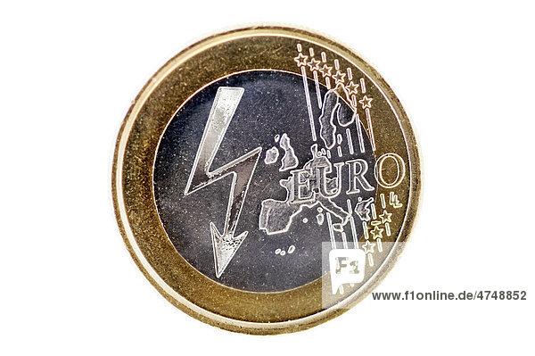 Ein-Euro-Münze mit Strompfeil  Symbolbild steigende Stromkosten