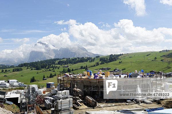 Seiser Alm alpine pastures  construction site at Compatsch  Alto Adige  Italy  Europe