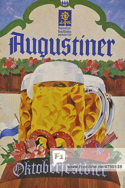 Nostalgisches Brauereiplakat  Augustinerbräu  Oktoberfest  München  Bayern  Deutschland  Europa Nostalgisches Brauereiplakat, Augustinerbräu, Oktoberfest, München, Bayern, Deutschland, Europa