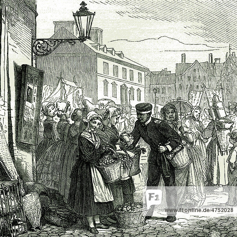 Markttag in Kaiserlautern  Deutschland  historische Illustration von 1892