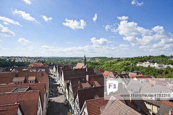 View from the Oberer Torturm tower  Marbach am Neckar  Neckar valley  Baden-Wuerttemberg  Germany  Europe