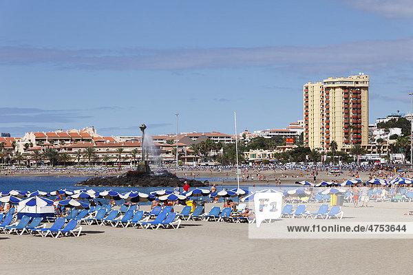 Playa de las Vistas beach  Los Cristianos  Tenerife Island  Canary Islands  Spain  Europe