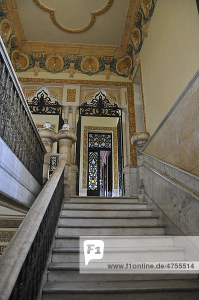 Treppe  Innenaufnahme  Palacio del Valle  Halbinsel Punta Gorda  Cienfuegos  Kuba  Karibik  Mittelamerika