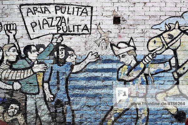 Protest-Wandmalerei  Murales  Rom  Latium  Italien  Europa