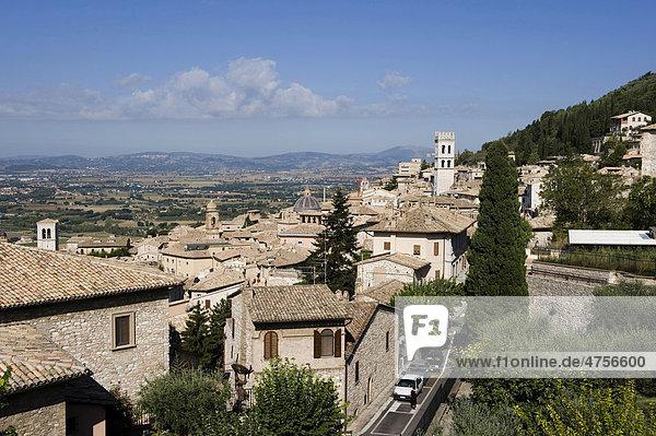 Blick über Assisi  Umbrien  Italien  Europa