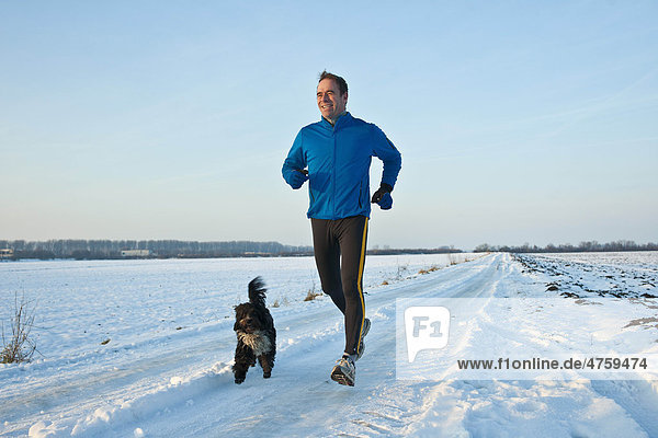 Mann joggt mit Hund im Schnee  Tannheimer Tal  Tirol  Österreich Mann joggt mit Hund im Schnee, Tannheimer Tal, Tirol, Österreich