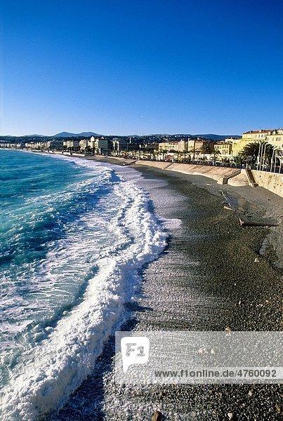 Rough sea in Nice Promenade des Anglais Alpes-Maritimes 06 cote d´azur PACA France Europe