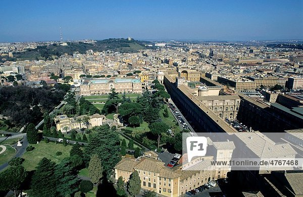 Vatican Museums and cityscape seen from St Peter´s Basilica  Vatican City  Rome  Italy