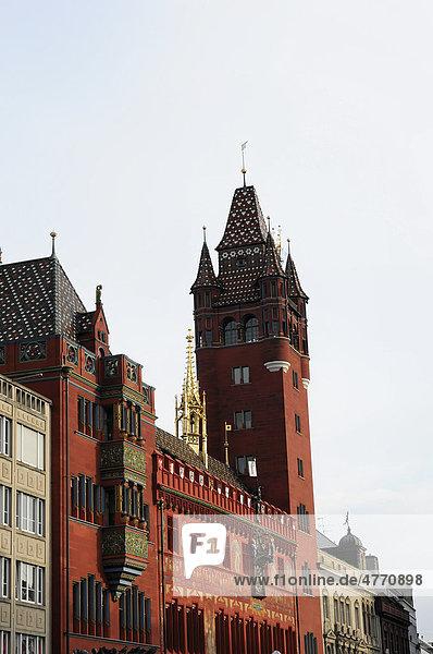 Teilansicht Rathaus  Basel  Schweiz  Europa