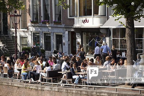 Restaurant an der Prinsengracht  Amsterdam  Holland  Niederlande  Europa