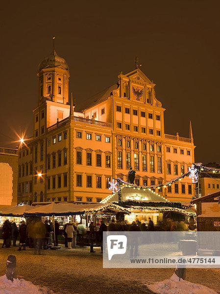 Augsburger Rathaus mit Christkindlesmarkt  Augsburg  Schwaben  Bayern  Deutschland  Europa Augsburger Rathaus mit Christkindlesmarkt, Augsburg, Schwaben, Bayern, Deutschland, Europa