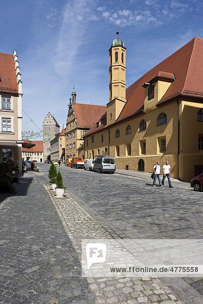 Rothenburger Tor  Dinkelsbühl  Landkreis Ansbach  Mittelfranken  Bayern  Deutschland  Europa