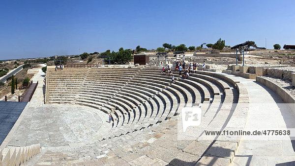 Die Ausgrabungsstätte des antiken Kourion  griechisch-römisches Amphitheater  Odeon  Heiligtum des Apollo Hylates  Halbinsel Akrotiri  nahe Episkopi  Südzypern  Zypern