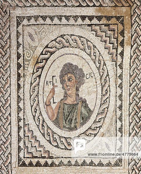 Feines römisches Mosaik der Ktisis  Villa des Eustolios  Ausgrabungsstätte des antiken Kourion  Halbinsel Akrotiri  nahe Episkopi  Südzypern  Zypern
