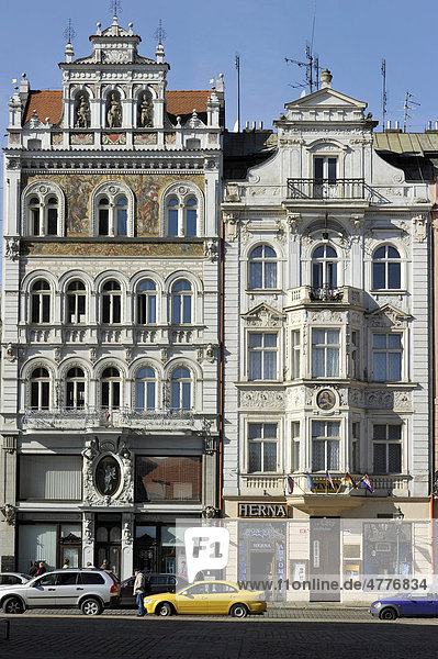 Haus zum roten Herzen mit Sgraffito  Renaissance- und Barock- Bürgerhäuser  Platz der Republik  Pilsen  Böhmen  Tschechien  Europa