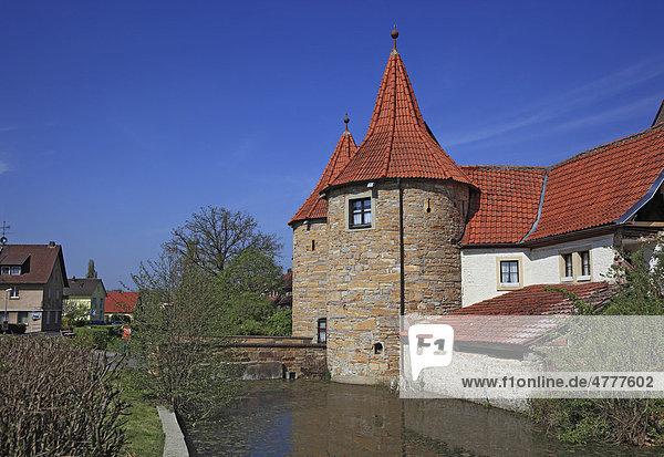 Westtor in Prichsenstadt  Landkreis Kitzingen  Unterfranken  Bayern  Deutschland  Europa