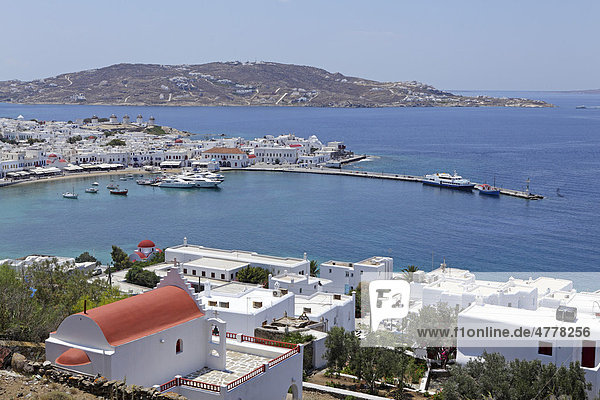Harbour  Mykonos town  Mykonos island  Cyclades  Aegean Sea  Greece  Europe