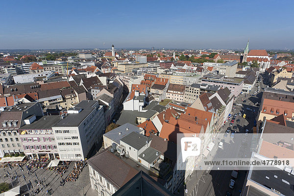 Cityscape  view from Perlach Tower  Augsburg  Bavaria  Germany  Europe