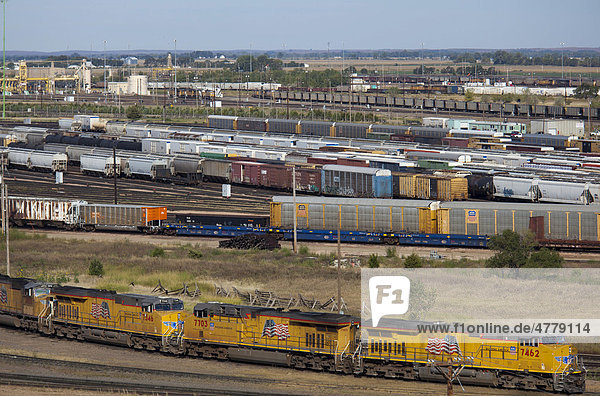 The Union Pacific Railroad's Bailey Yard  the largest rail yard in the world which handles 14  000 rail cars every day  North Platte  Nebraska  USA
