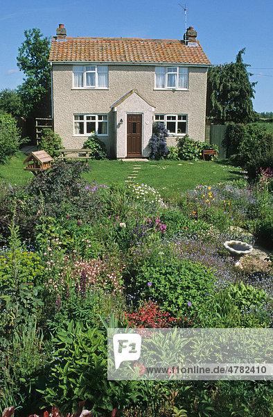Cottage und Blumengarten mit Wildblumen und Vogeltisch mit Bad  Norfolk  England  Großbritannien  Europa