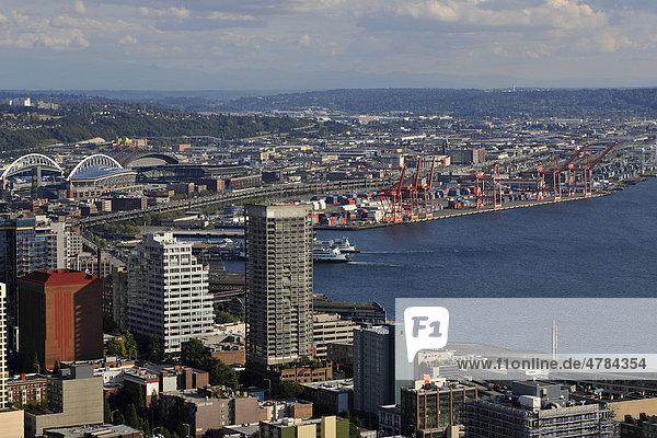 View towards the southwest  Seahawk Stadium  Qwest Field  Seattle Harbor  Elliott Bay  Seattle  Washington  United States of America  USA