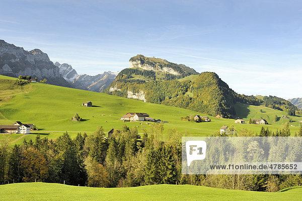 Blick über die Alp bei Brülisau zur Ebenalp  dahinter die Appenzeller Alpen  Kanton Appenzell-Innerrhoden  Schweiz  Europa