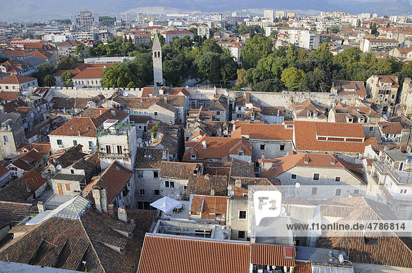 Historic town centre  overlooking the city from the tower of the Cathedral of Sveti Duje  Split  Croatia  Europe
