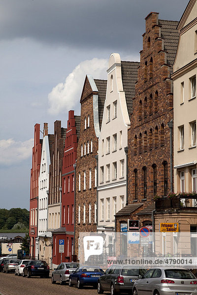 Houses with gable roofs  Rostock  Mecklenburg-Western Pomerania  Germany  Europe