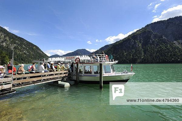 Cruise ship  MS Wilhelm  Lake Plansee  Ammergau Alps  Tyrol  Austria  Europe