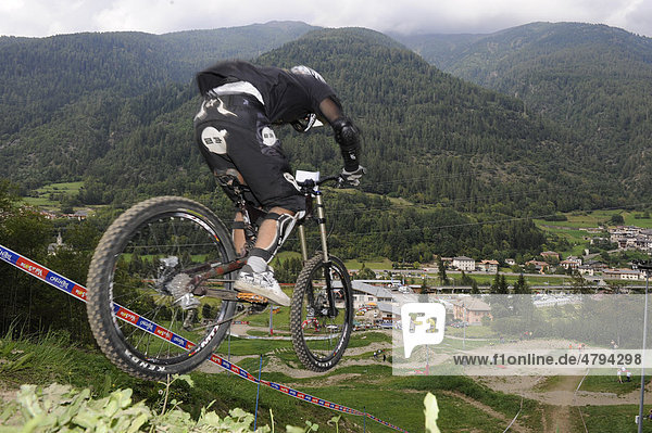 Mountain bike downhill racetrack at the lift station in Commezzadura  Dolomites  Alto Adige  Italy  Europe
