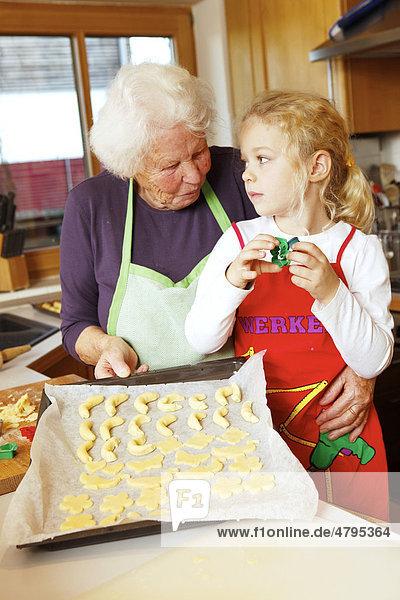 Weihnachtsbäckerei  Oma und Enkelin backen Weihnachtsplätzchen  ausgestochener Plätzchenteig auf Backblech
