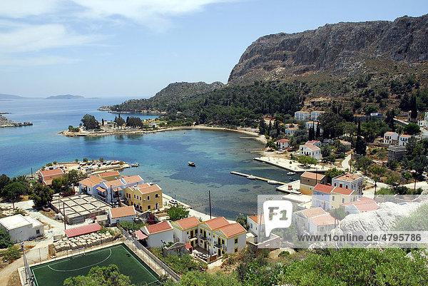 Houses in a bay of Kastelorizo island  Meis  Dodecanese Islands  Aegean  Mediterranean  Greece  Europe