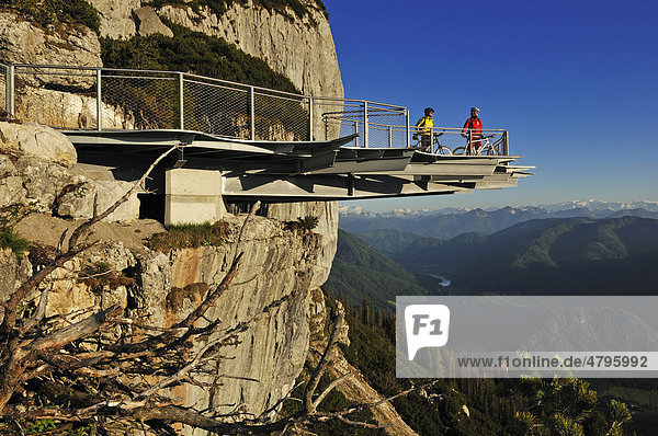 Mountain bikers on a viewing platform in Triassic Park  Reit im Winkl  Bavaria  Germany  Waidring  Tyrol  Austria  Euroep