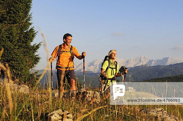 Wanderer auf der Winklmoos-Alm  Reit im Winkl  Chiemgau  Oberbayern  Bayern  Deutschland  Europa