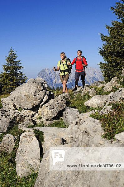 Wanderer auf der Eggenalm beim Straubinger Haus  hinten der Wilde Kaiser  Reit im Winkl  Chiemgau  Oberbayern  Bayern  Deutschland  Tirol  Österreich  Europa