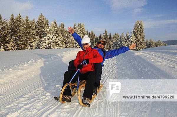 Schlittenfahrt bei Winterwanderung auf dem ersten Premium-Winterwanderweg Deutschlands  Hemmersuppenalm  Reit im Winkl  Bayern  Deutschland  Europa