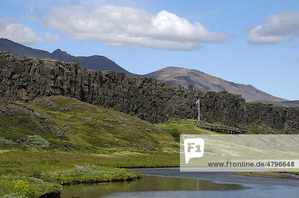 Nationalpark _ingvellir  Pingvellir  mit Lögberg  Island  Europa