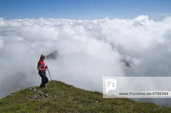 Wanderin über den Wolken  Steiermark  Österreich  Europa