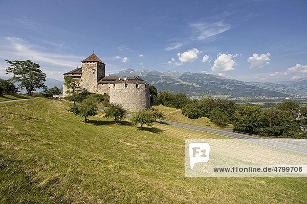 Schloss Vaduz  Sitz des Fürstenhauses und Wahrzeichen der Hauptstadt Vaduz  Fürstentum Liechtenstein  Europa