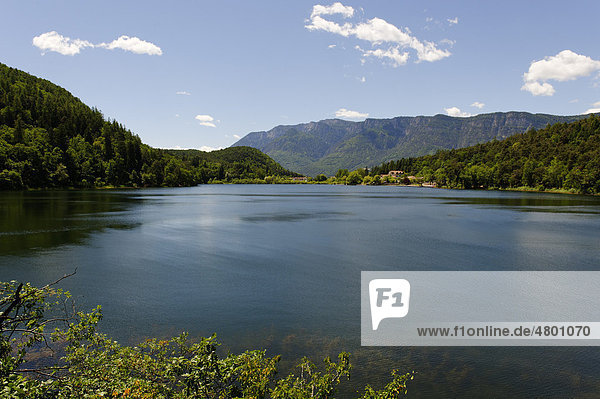 Montiggler See with the Mendel Pass  on the Weinstrasse wine route  Oltradige  Southern Tyrol  Italy  Europe