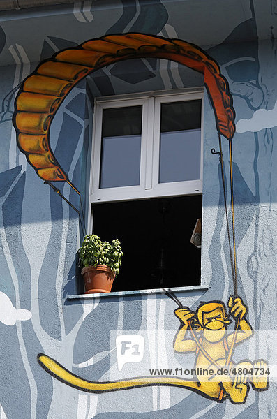 Affe hängt an einem Fallschirm  Fenster in künstlerisch bemaltem Haus  Streetart-Stil  Kiefernstraße  Düsseldorf-Flingern  Nordrhein-Westfalen  Deutschland  Europa