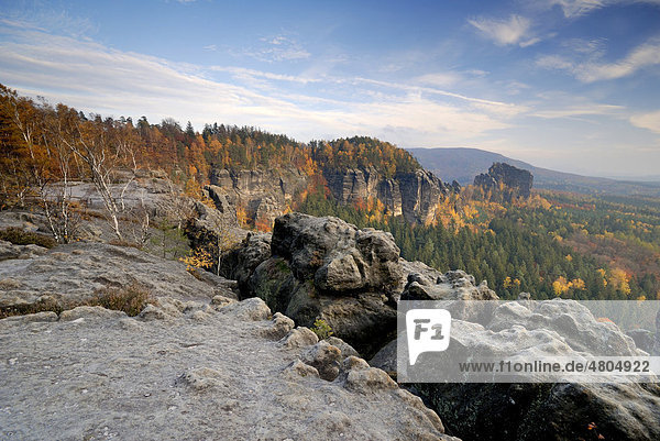 View over the Elbe Valley in autumn  Elbe Sandstone Mountains  Saxon Switzerland  Saxony  Germany  Europe