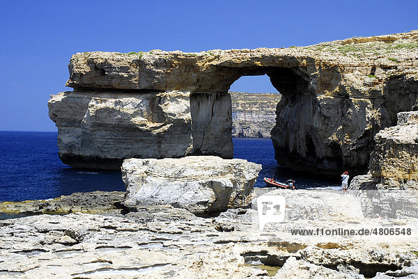 Rocky coast  Azure Window at Dwejra Point  Island of Gozo  Malta  Mediterranean  Europe