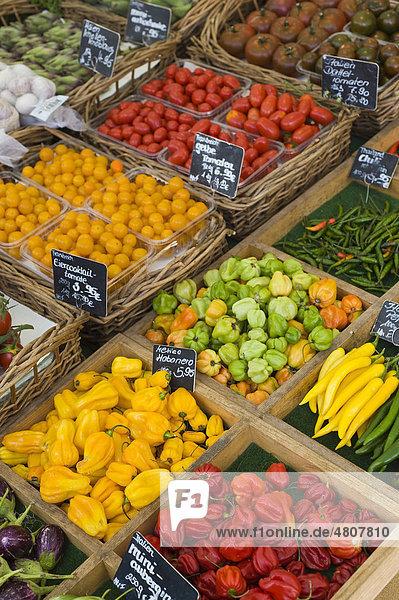 Frisches Gemüse  Stand auf dem Münchner Viktualienmarkt  München  Bayern  Deutschland  Europa