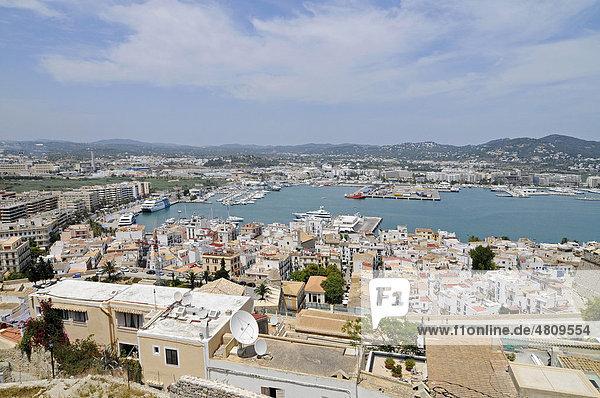 Port  overview  Dalt Vila  historic old town  Unesco World Heritage Site  Ibiza  Pityuses  Balearic Island  Spain  Europe