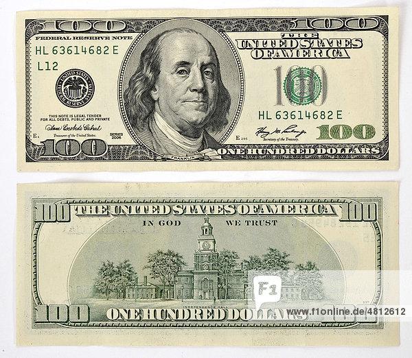 100-Dollar Banknote  Vorderseite  Rückseite