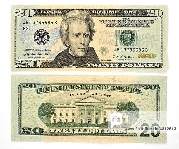 20 dollar banknote vorderseite r ckseite. Black Bedroom Furniture Sets. Home Design Ideas