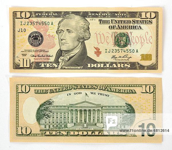 10-Dollar Banknote  Vorderseite  Rückseite