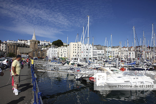 Sailboats in the marina  main port  St. Peter Port  Guernsey  Channel Islands  Europe