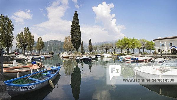 Hafen von Porto Portese mit Zypresse  Gardasee  Lombardei  Italien  Europa